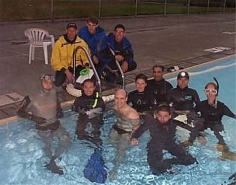 Group photo at UBC outdoor pool