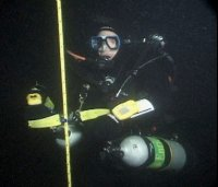 Safety scuba diver at depth